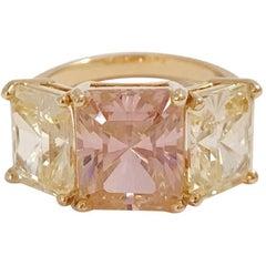 Yellow Gold Zircon Mini Emerald Cut Ring