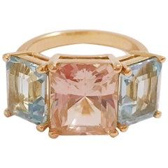 Yellow Gold Semi Precious Mini Emerald Cut Ring