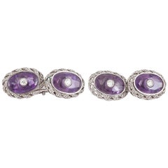 Amethyst & Diamond Oval Cufflinks in 18 Karat White Gold, French circa 1910