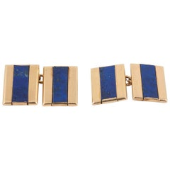 Art Deco Cufflinks in 18 Karat Gold with Lapis Lazuli, French circa 1925