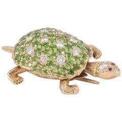 Tortoise brooch set green  Garnets and Diamonds ,ruby eyes,C,1930-50