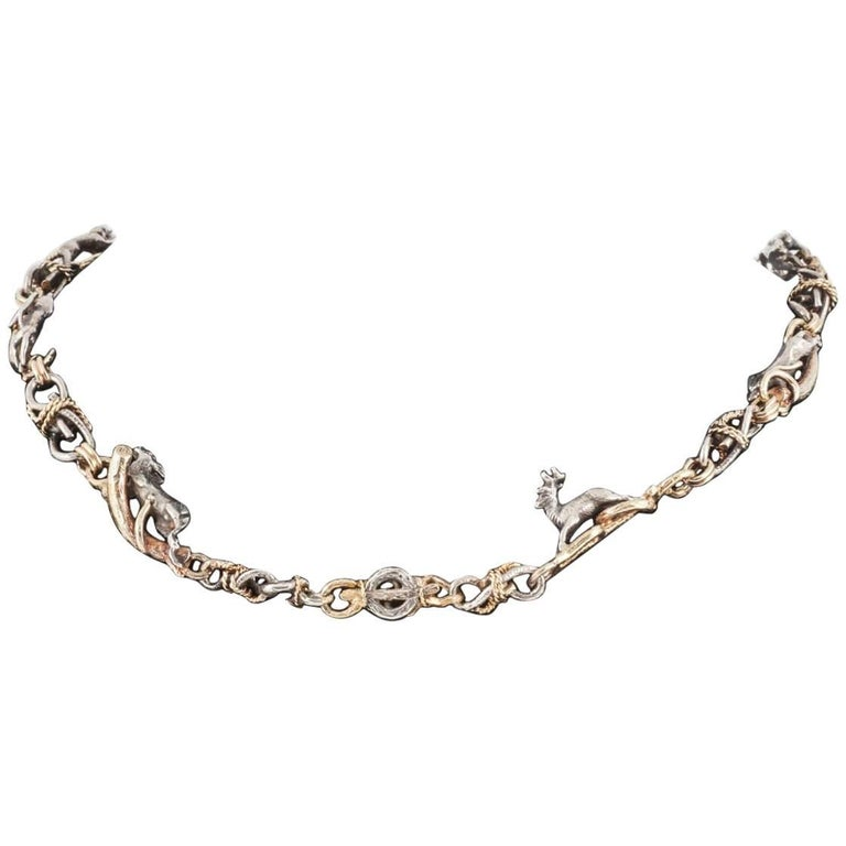 Rare 19th Century Silver and Gold Necklace of Stags, Hounds and Foxes 1