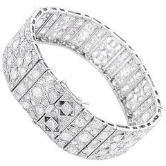 Platinum Filigree Art Deco Diamond Bracelet