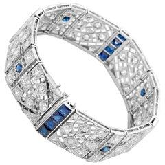 Platinum Art Deco Diamond and Sapphire Bracelet