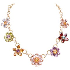 Dolce & Gabbana Multi-Gem-Set Floral Clusters Necklace