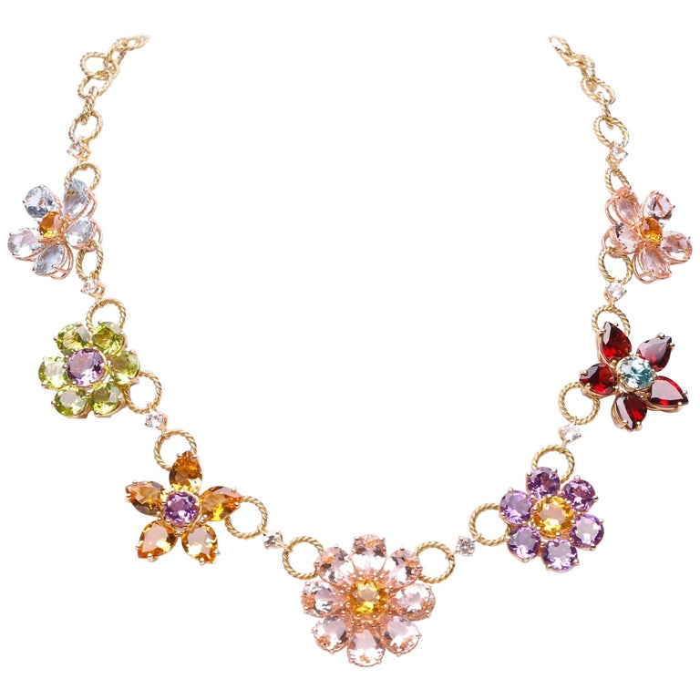 Dolce & Gabbana Multi-Gem-Set Floral Clusters Necklace