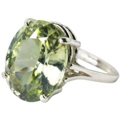 14.48 Carat Sri Lankan Green Zircon Dinner Ring