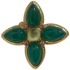 David Yurman 18 Karat Green Onyx, Peridot and Pink Sapphire Enhancer