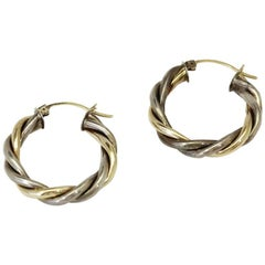 Vintage Two Tone 10k Gold Twist Hoop Earrings