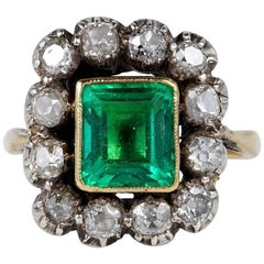 Antique 2.40 Carat Colombian Emerald 1.80 Carat Mine Cut Diamond Rare Ring