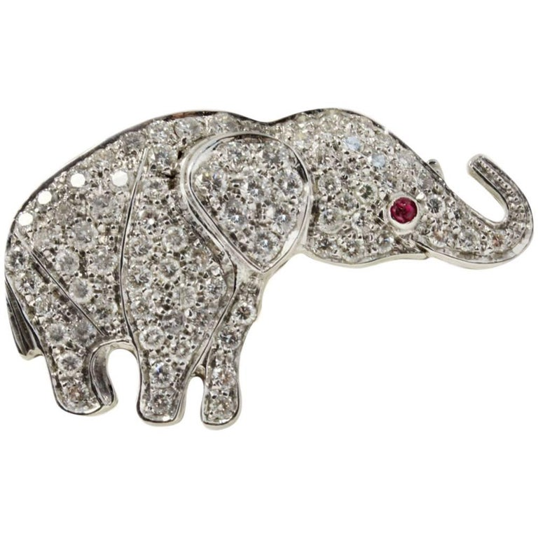Contemporary White Gold Diamonds and Ruby Brooch/Pendant