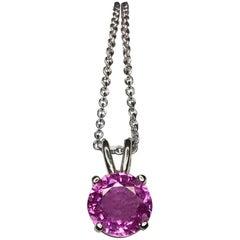 Purplish Pink 1.00 Carat Sapphire Round Cut 18 Karat Gold Solitaire Pendant