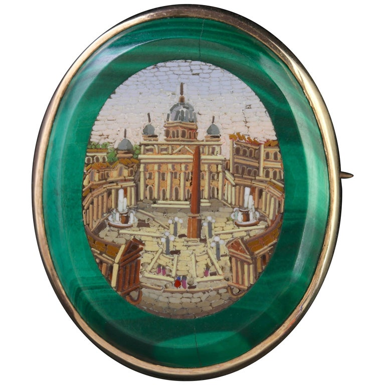 Antique Victorian St Peters Square Micro Mosaic Gold Brooch, circa 1860