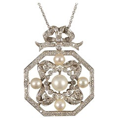 Contemporary Diamond and Pearl Necklace Set in 18 Carat White Gold