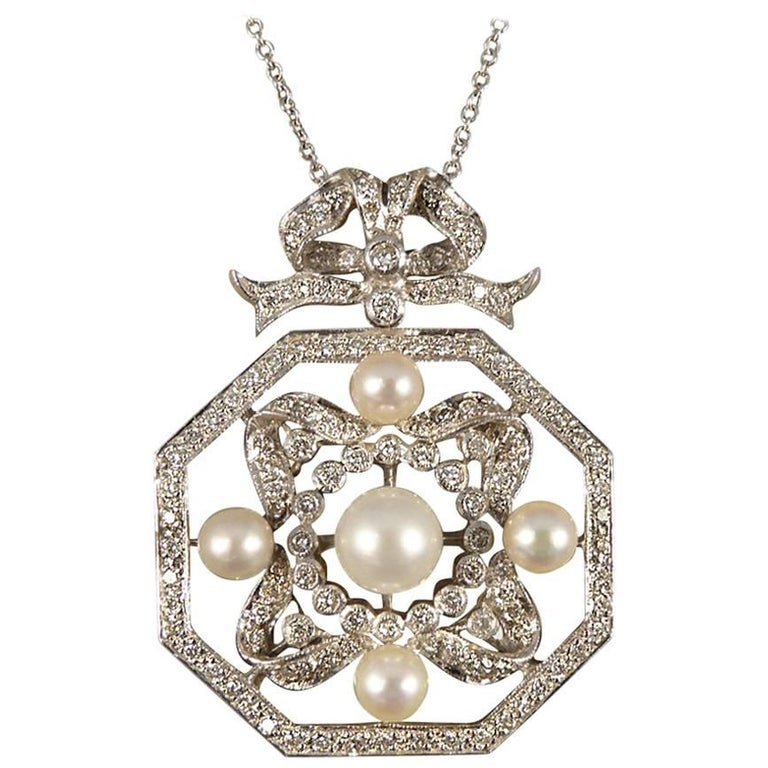 Contemporary Diamond and Pearl Necklace Set in 18 Carat White Gold 1