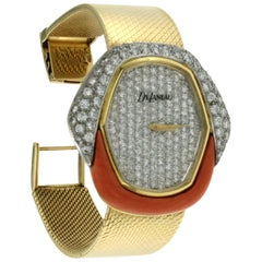 Kutchinsky Yellow Gold Diamond Coral Delaneau Wristwatch