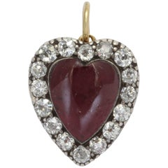Garnet and Diamond Victorian Heart Pendant
