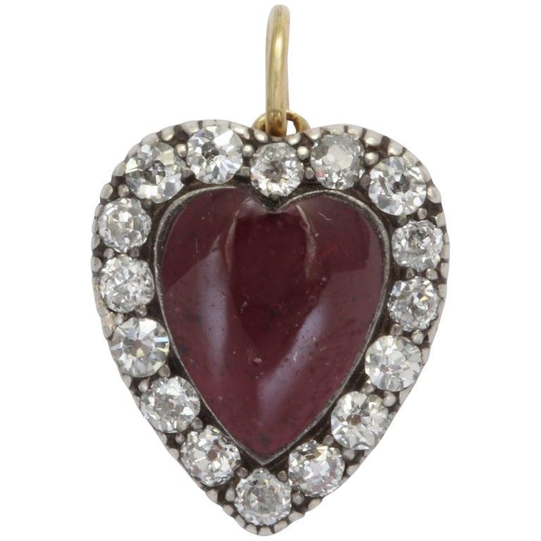 Garnet and Diamond Victorian Heart Pendant