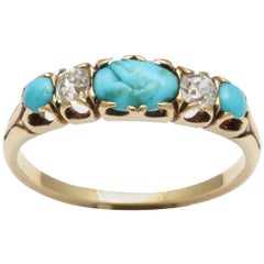 Turquoise Carved Fede and Diamond Ring