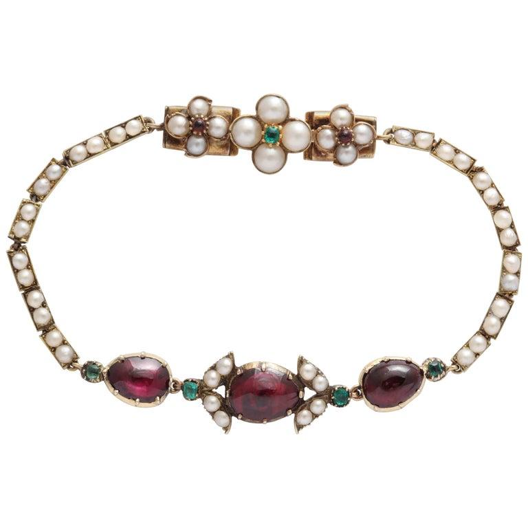 Victorian Hunt and Roskell Garnet Emerald Seed Pearl Bracelet Original Box For Sale