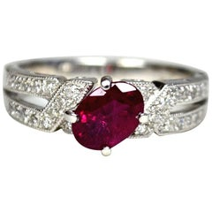 Oval Ruby Diamond 18 Karat Gold Solitaire Ring