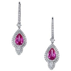 Pear Pink Sapphire Diamond Drop Earrings