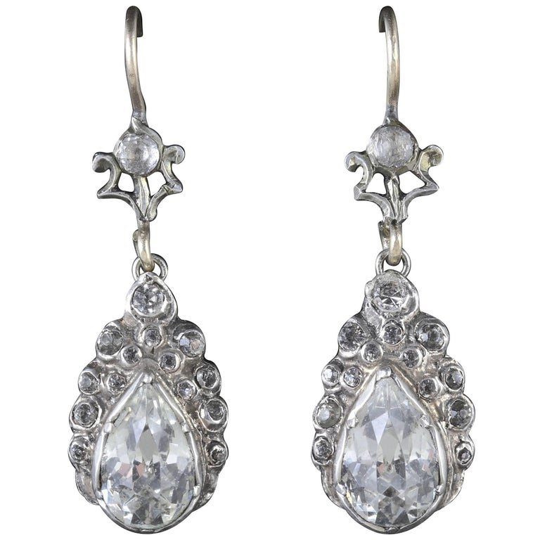 Victorian Paste Earrings Silver Gold