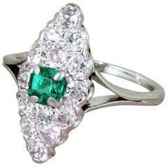 Art Deco Step Cut Emerald and Old Cut Diamond Navette Ring