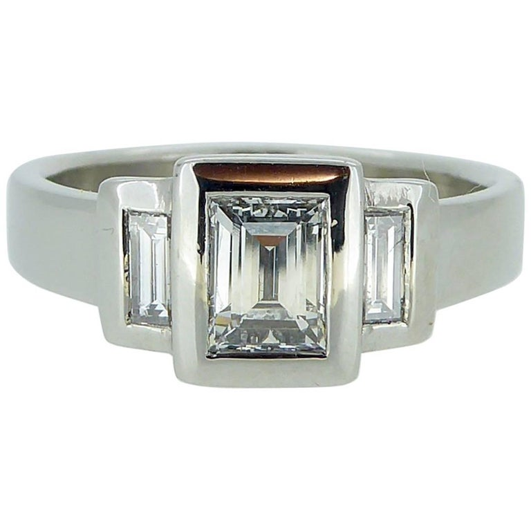 Pre-Owned Three-Stone 0.96 Carat Baguette Cut Diamond Ring in Platinum