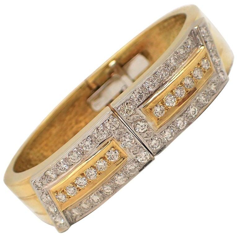 18 Karat Two-Tone Gold Diamond Cuff Bracelet