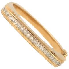18 Karat Yellow Gold Square Diamond Bangle Bracelet