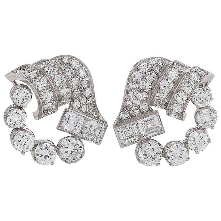 1950s Diamond and Platinum Earrings For Sale