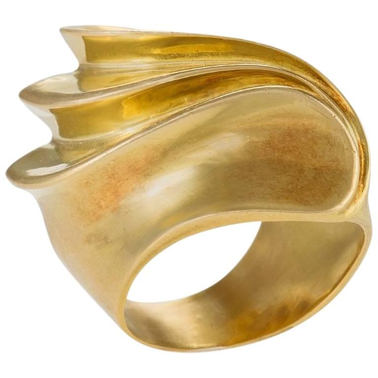 French 'Modernist' Gold Ring 1