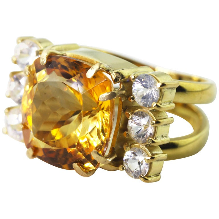 11.5 Carat Golden Citrine and Sapphire Gold Cocktail Ring