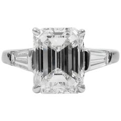 GIA Certified 3.02 Emerald Cut Diamond Platinum Classic Engagement Ring