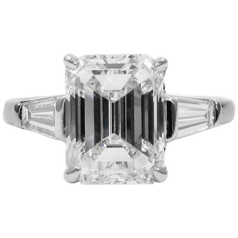GIA Certified 3.02 Emerald Cut Diamond Platinum Classic Engagement Ring