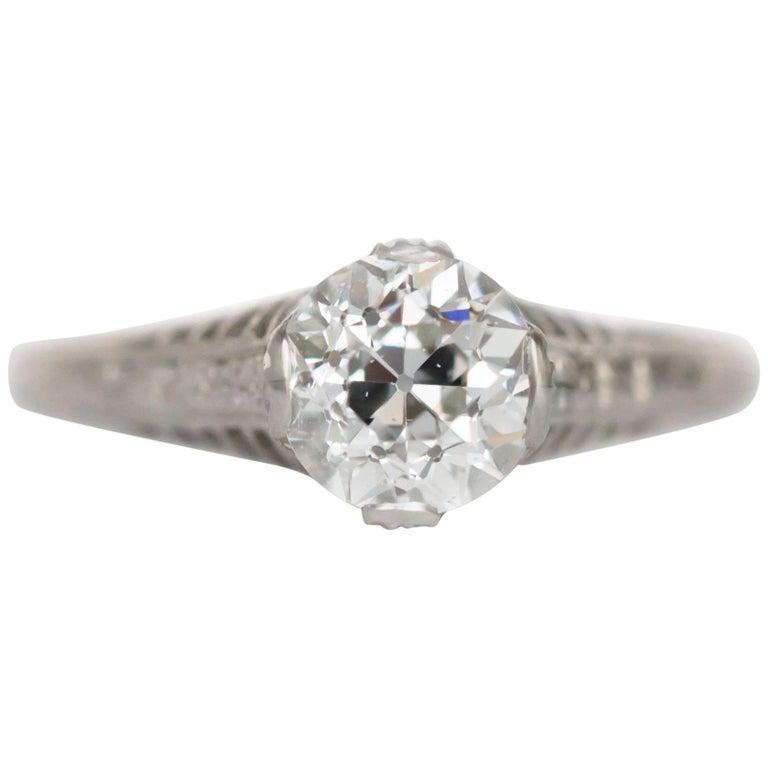 GIA Certified 1.08 Carat Diamond Platinum Engagement Ring