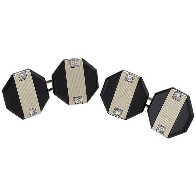Ghiso Art Deco Diamond, Onyx, Platinum and Gold Octagonal Cufflinks