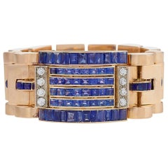 Retro Diamond, Sapphire and Gold Bracelet