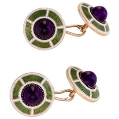 Art Deco Amethyst, Gold and Enamel Cufflinks