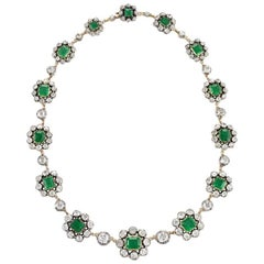 Antique English Emerald and Diamond Cluster Necklace