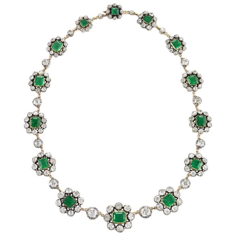 Antique English Emerald and Diamond Cluster Necklace For Sale