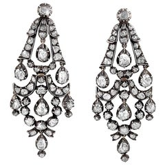 Antique English Diamond Silver and Gold Earrings