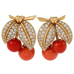 Van Cleef & Arpels Paris 1990s Diamond Coral and Gold Earrings