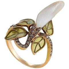 Le Turcq French Art Nouveau Diamond Pearl Gold and Enamel Ring