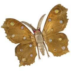 Mario Buccellati 1960s Colored Diamond and Gold Butterfly Brooch