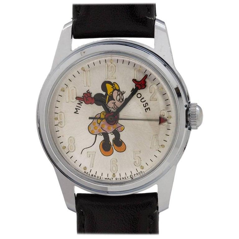 Helbros Minnie Mouse 17 Jewel Manual Wristwatch, circa 1970s For Sale