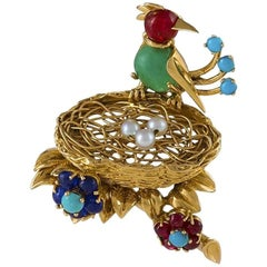 Cartier Paris Late 1950s 'Bird in a Nest' Brooch