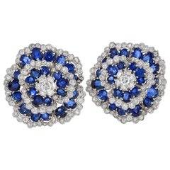 Van Cleef & Arpels 1960s Diamond and Sapphire 'Camellia' Earrings