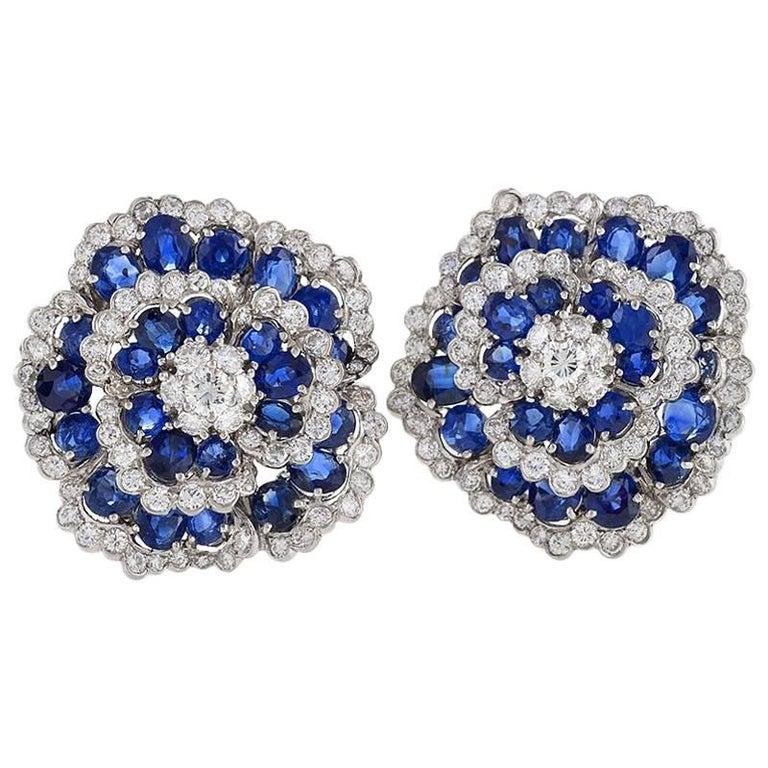 Van Cleef & Arpels 1960s Diamond and Sapphire 'Camellia' Earrings